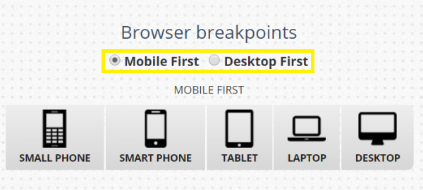 Radio buttons to select browser breakpoints.