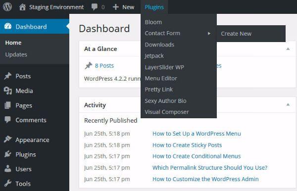 organize WordPress admin