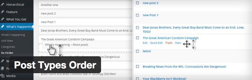 Post Types Order plugin.