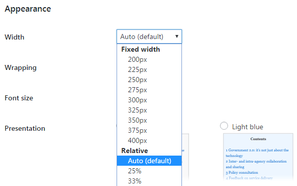 The Width setting.