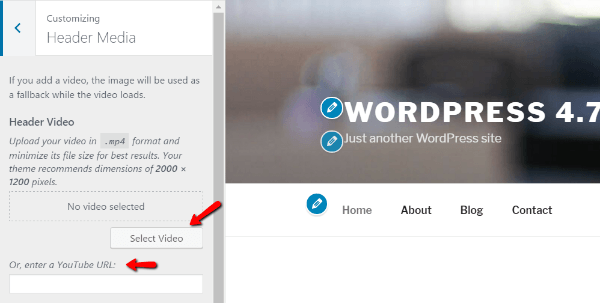 WordPress 4.7 header