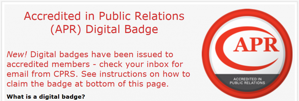 A public relations accreditation badge with a message to recipients
