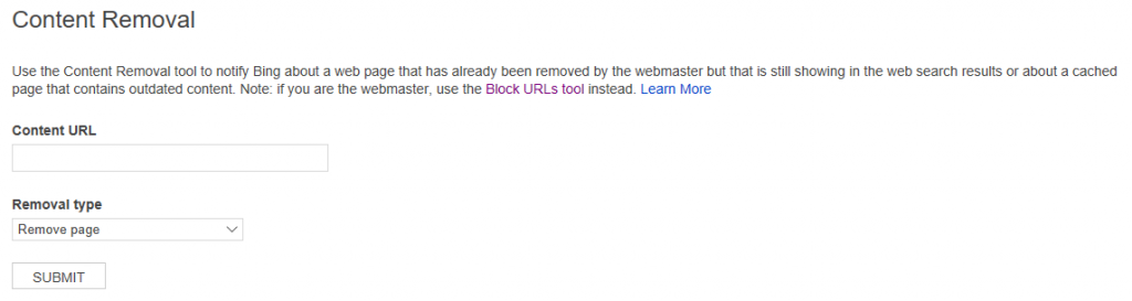 The Bing Content Removal Tool interface
