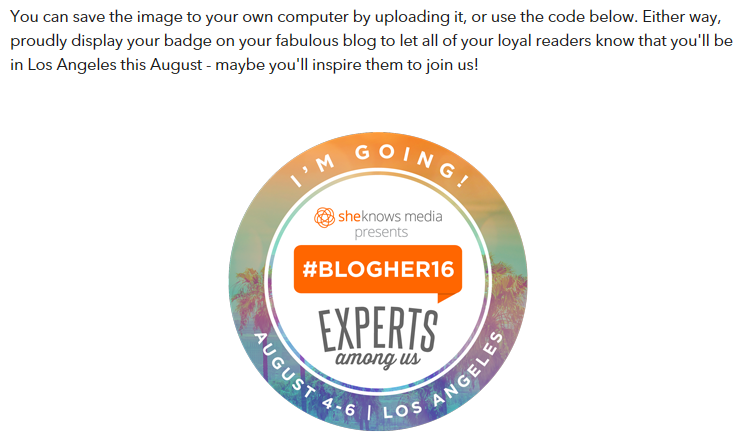 A BlogHer16 event attendee badge