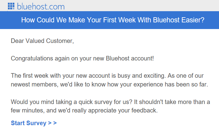 A messgae from Bluehost requesting a new user to take a survey