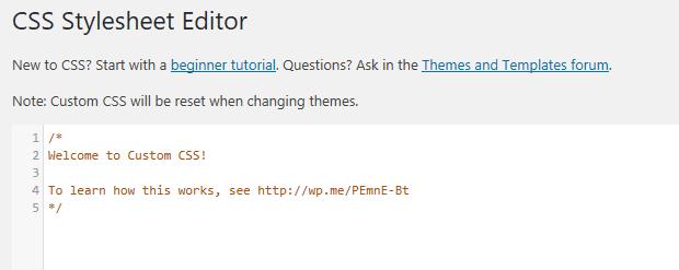 Jetpack's CSS Stylesheet Editor