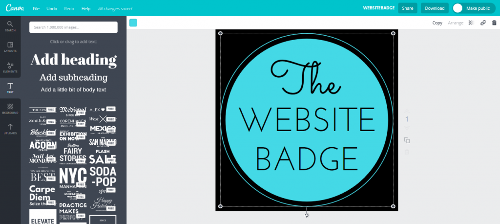A website badge in Canva's design interface