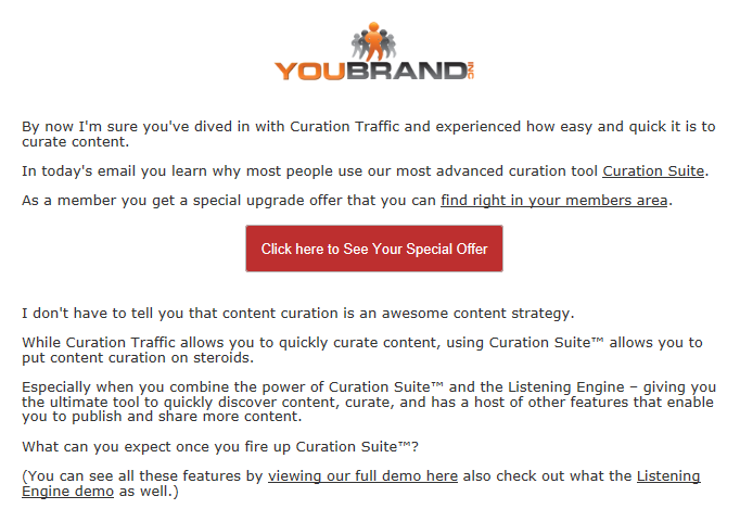 A Curation Suite email promoting an upgrade