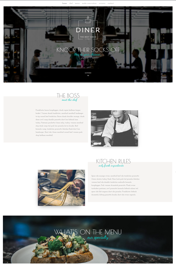 Diner a free divi layout for restaurants elegant themes