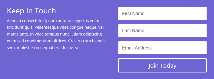 A Divi Email Optin Module example