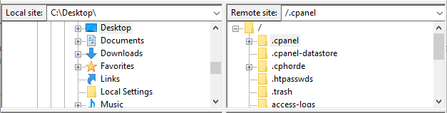 The Local site and Remote site sections of FileZilla's interface