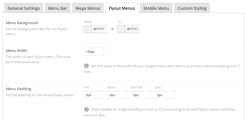 A section of the Flyout Menus tab