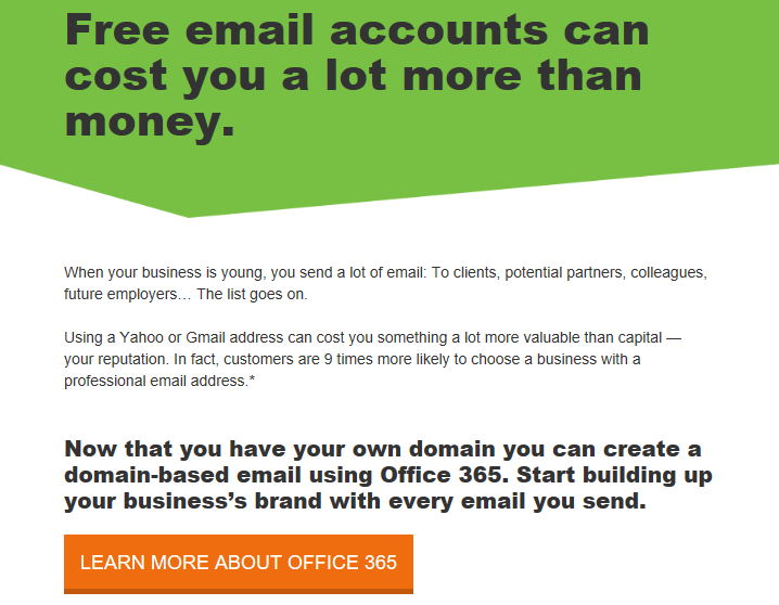 A GoDaddy email promoting Office 365 to new domain purchasers