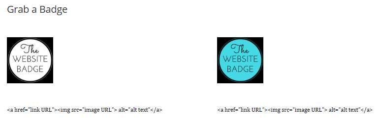 A Grab a Badge page with two different colored badges above their corresponding code.