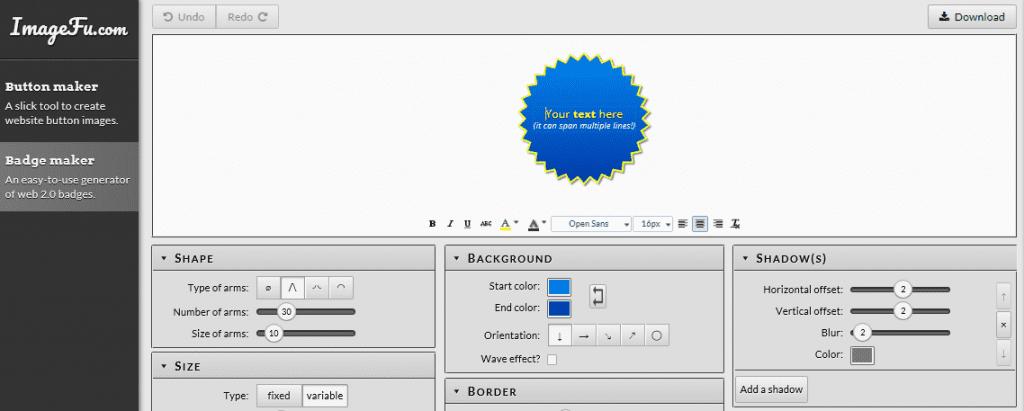 ImageFu's design interface