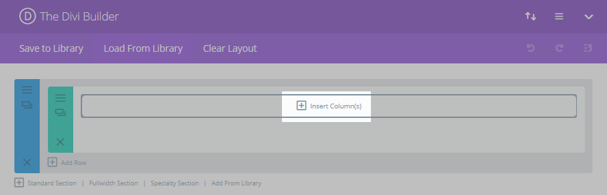 The Divi Builder interface with the Insert Column(s) button highlighted