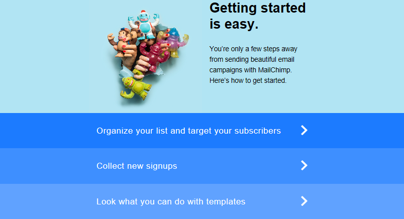 A MailChimp email with links for getting started with the platform