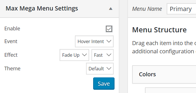 The Max Mega Menu Settings section