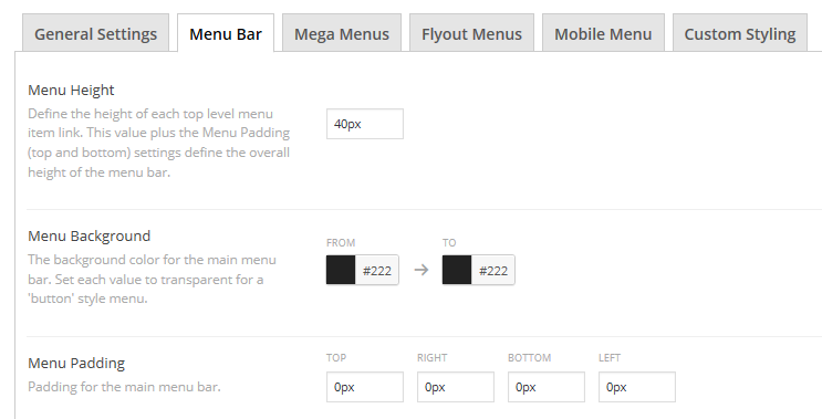 A section of the Menu Bar tab