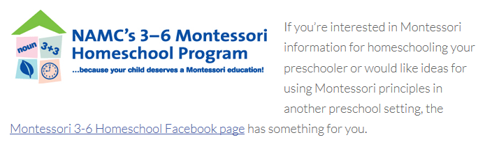 A badge issued by NAMC's 3-6 Montessori Homeschool Program incorporated into a blog post