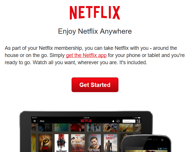 A Netflix message asking the reader to get the Netflix app