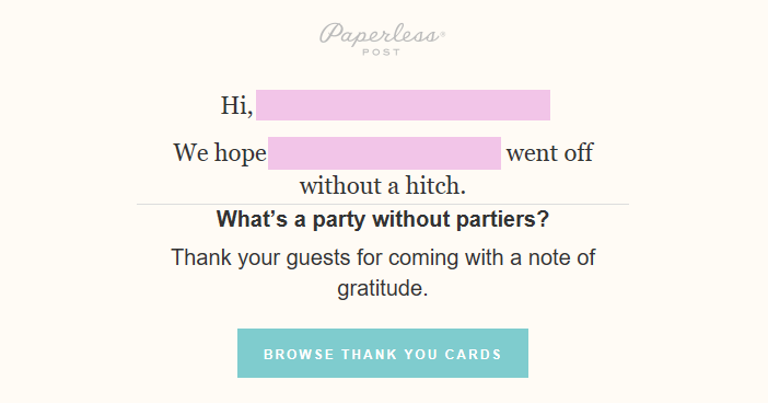 A Paperless Post message encouraging recent event hosts to buy thank you cards