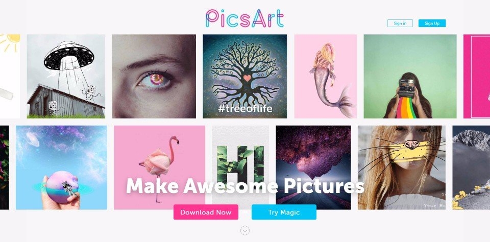 The PicsArt Photo Studio home page.