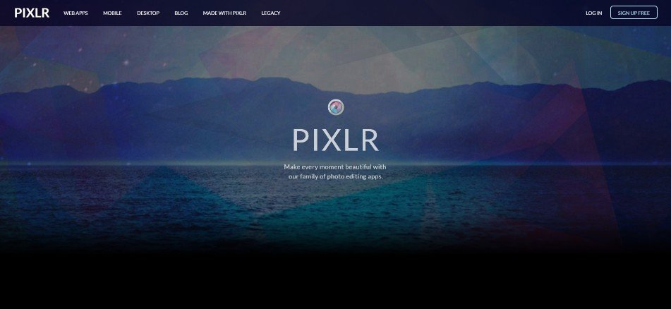 The Pixlr home page.