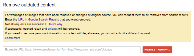 The Google Remove Outdated Content tool interface