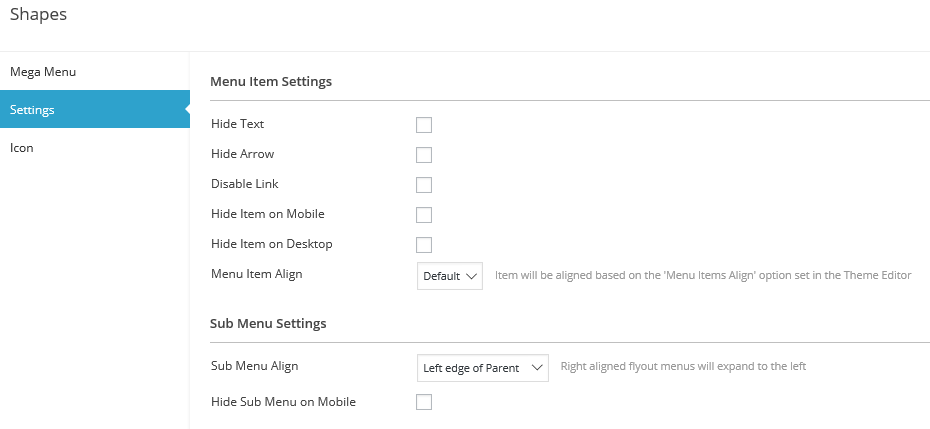 A section of the Settings tab