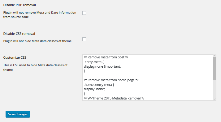 The WP Meta and Date Remover Settings screen