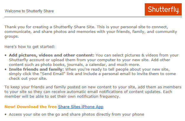 A Shutterfly welcome email for share site users encouraging them to download an app
