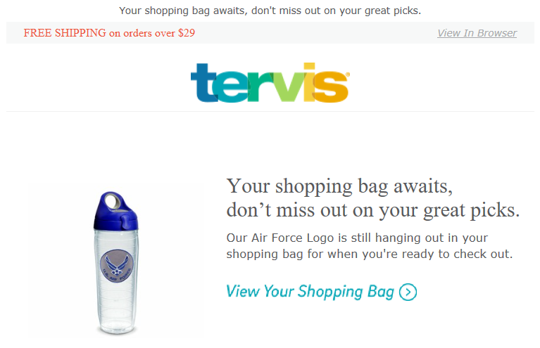 A Tervis abandoned shopping cart email