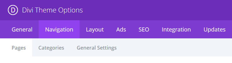 The Divi Theme Option menu with the Navigation tab highlighted