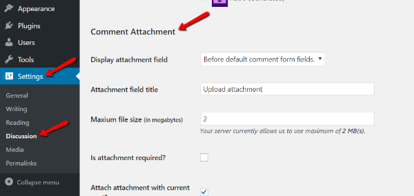 Adding attachments in WordPress comments