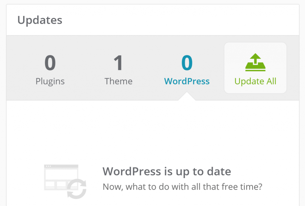 The WordPress core updates option.