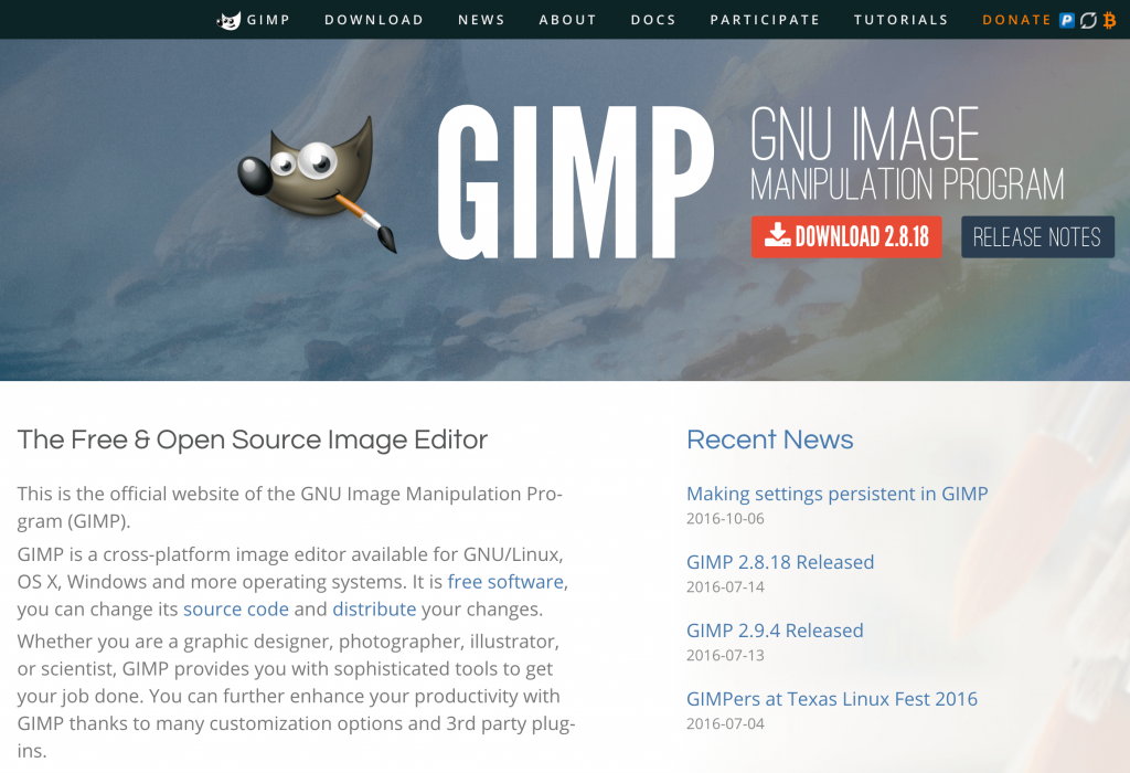 The GIMP home page.