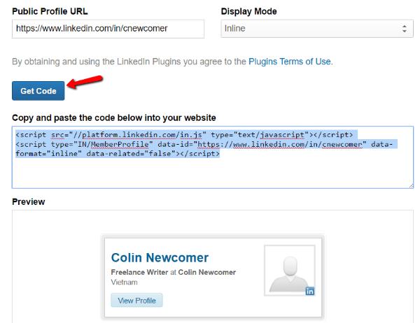 LinkedIn Get Code