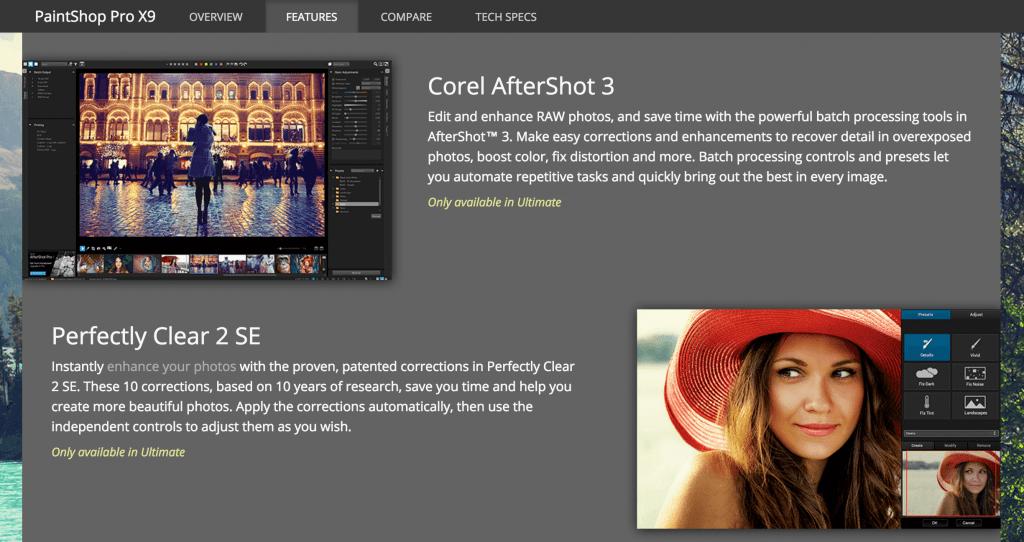 The PaintShop Pro home page.