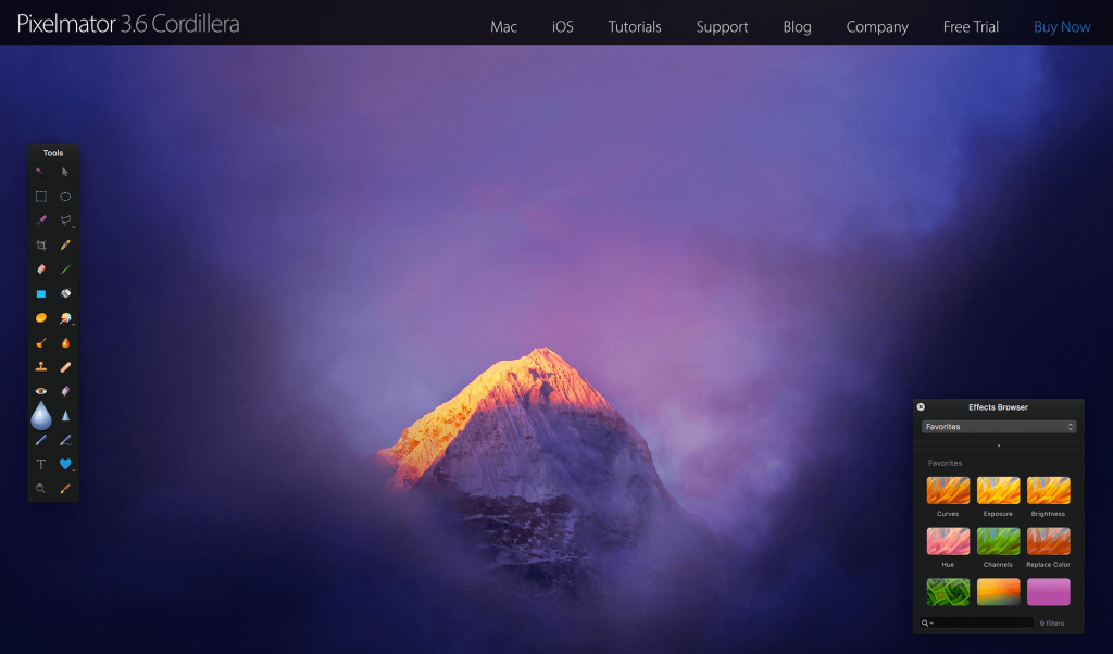 The Pixelmator home page.