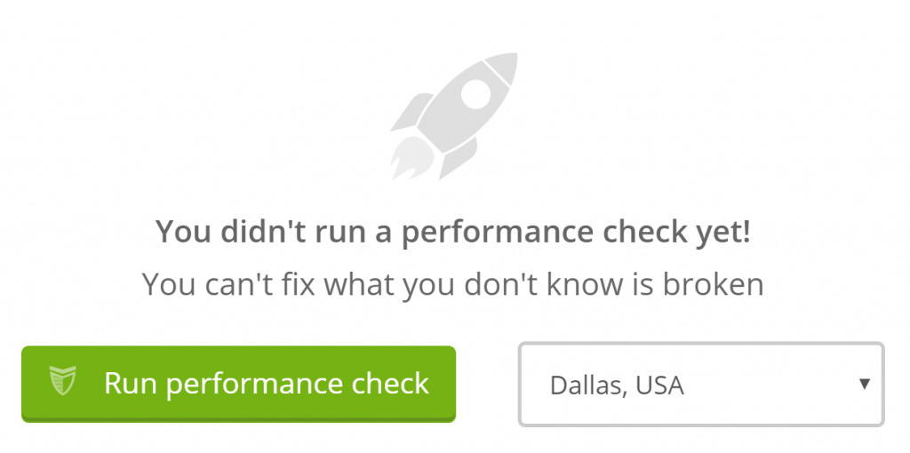 The option to run a performance check.