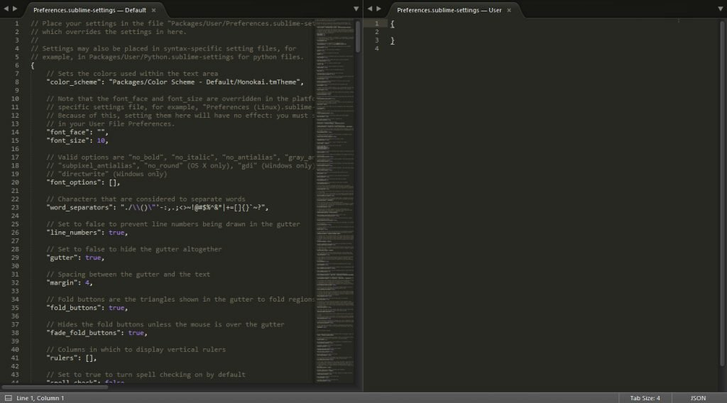 sublime text editor settings