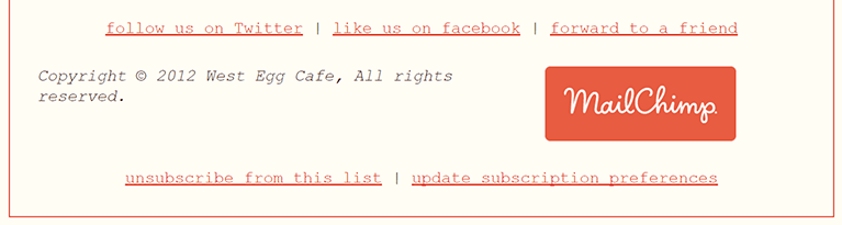An example of an unsubscribe option from a mailing list.