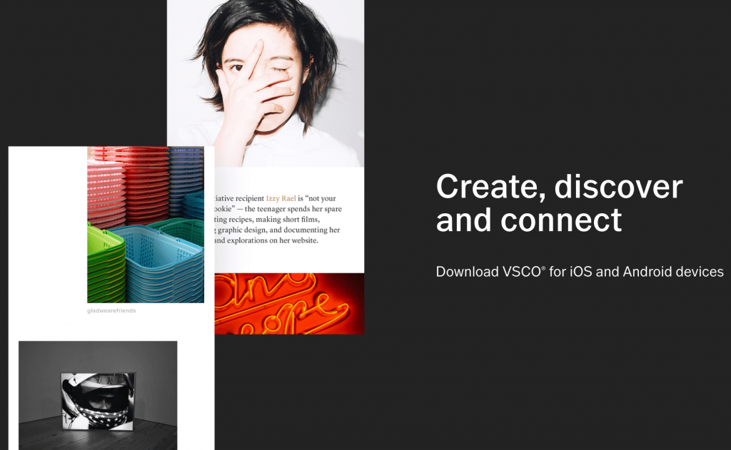The VSCO home page.