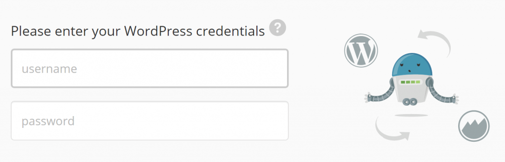 ManageWP requesting your WordPress credentials.