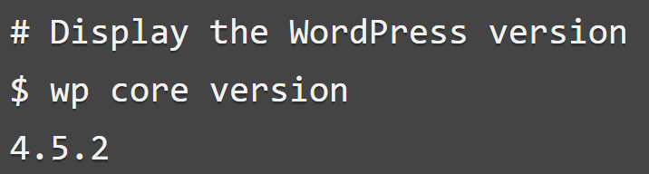 An example of the wp core version command.