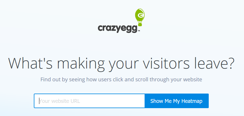 Crazy Egg homepage