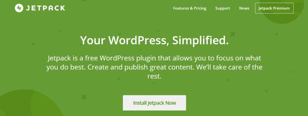 Jetpack's homepage