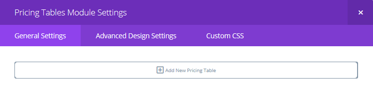 The Add New Pricing Table button