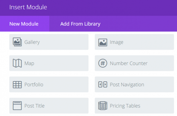 Adding the Divi Pricing Table module.